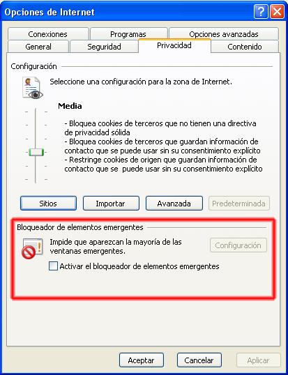 Bloquear ventanas emergentes de internet explorer - bloqueador de elementos emergentes